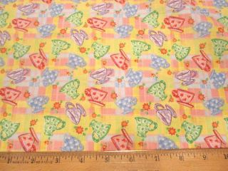 Tea Party Tea Cups Toss Yellow Plaid Cotton Fabric