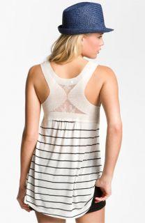 Lily White Stripe Crochet Back Tank (Juniors)