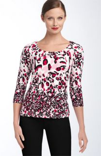St. John Yellow Label Leopard Floral Print Jersey Top