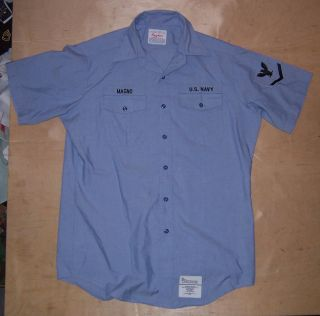Creighton Brand US Navy Issue Blue Chambray Uniform Shirt Size 16 46