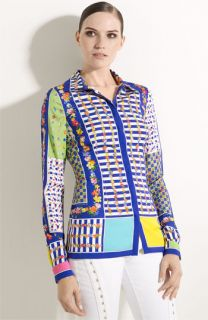Versace Floral Patchwork Stretch Silk Blouse