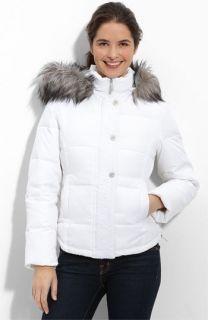 Calvin Klein Quilted Faux Fur Trim Jacket (Plus)