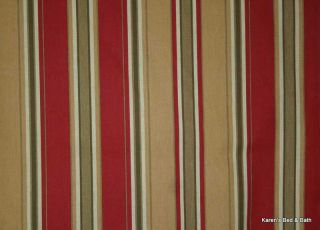 Rust Red Browns Cream Stripes Cotton Duck Curtain Valance NEW
