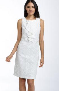 Donna Ricco Ruffle Front Cotton Eyelet Sheath Dress