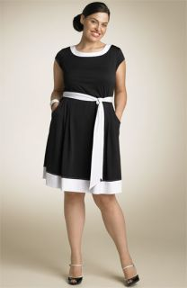 Kate by Kathryn Conover Contrast Trim Matte Jersey Dress (Plus)