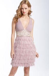 Sue Wong Ostrich Feather Sheath Dress