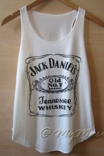 Jack Daniels Print Tank Vest T Shirts Top Ladies Womens Girls UK New