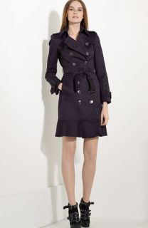 Burberry London Flare Hem Belted Stretch Sateen Trench