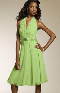 Maggy London Ruched Waist Halter Dress