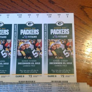 Titans At Green Bay Packers Tickets Lambeau 12 23 25 Gift Card BWW