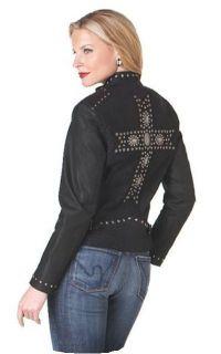 Cripple Creek Womens XL Western Leather Black Concho Cross Jacket