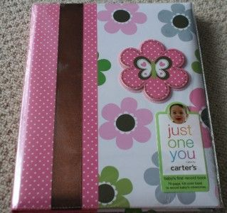 New Baby Girl Memory Book Just One You Carters Green Pink Brown