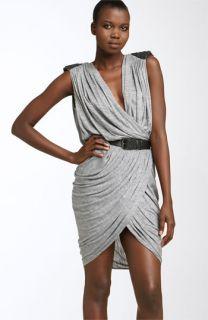 Robert Rodriguez Sequined Shoulder Faux Wrap Jersey Dress
