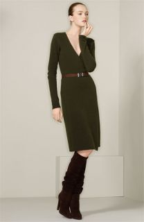 Ralph Lauren Black Label Belted Sweater Knit Wrap Dress