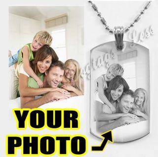 Custom Photo Engraving Dog Tag Pendant Dogtags Necklace