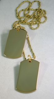2X Gold Plated Dog Tags Military Style Custom Necklace You Personalize