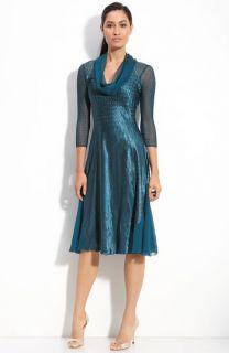 Komarov Pleated Charmeuse Cowl Neck Dress