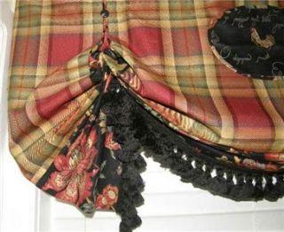 Spice Plaid Balloon VALANCE Curtain Window Treatment Tassel Trim