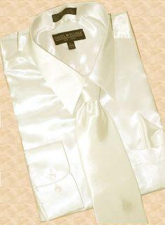 Daniel Ellissa Cream Satin Shirt Tie Hanky Size 2XL $79