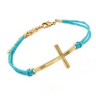Fashion Leather Rope Bracelet Cross Bowknot Bangle Vintage Anchor