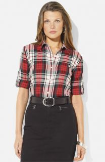 Lauren Ralph Lauren Roll Sleeve Plaid Shirt (Petite) (Online Exclusive)
