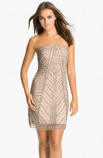 Adrianna Papell Strapless Embellished Mesh Dress