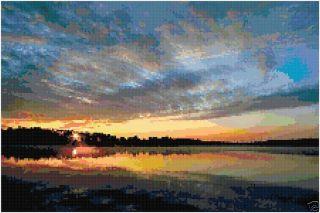 Sunset Sunrise Over Lake Counted Cross Stitch Pattern