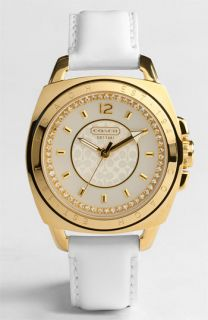 COACH BOYFRIEND CRYSTAL GOLD PLATED WHITE STRAP WATCH