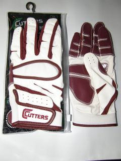 Cutters Endurance 018E Adult Baseball Softball Batting Gloves White