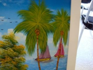 Signed Caribbean Island Scene Painting on Canvas Framed Colorful