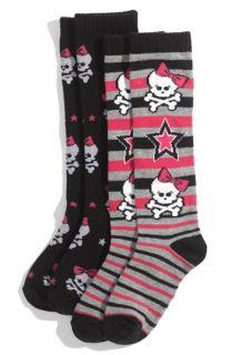 Pretty Skulls Knee High Socks (2 Pack) (Girls)