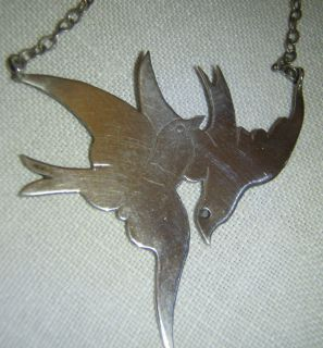 VINTAGE STERLING SILVER SWALLOWS HAND MADE NECKLACE PENDANT FABULOUS