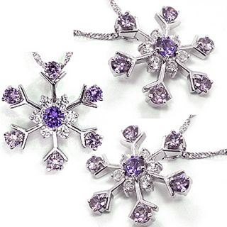Personalized Jewelry Flower Purple Amethyst White Gold GP Pendant