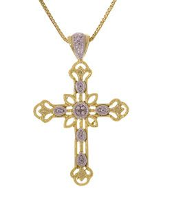 18kt Gold SS Diamond Cross Necklace Free Gift