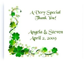 Custom Irish Clover Shamrock Bridal Wedding Thank You Cards