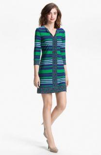 Donna Morgan Contrast Print & Stripe Sheath Dress