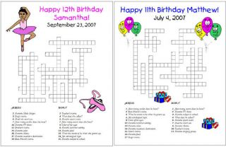 Kid Birthday Party Custom Crossword Puzzles Games Favor