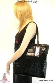 Nine West Purse XL Bag & Checkbook Wallet 4 Piece Set Lot Black Patent
