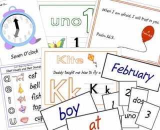 Samples of worksheets, certificates, and activities printed from Vol