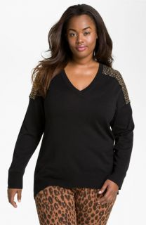 MICHAEL Michael Kors Stud Shoulder Sweater (Plus)