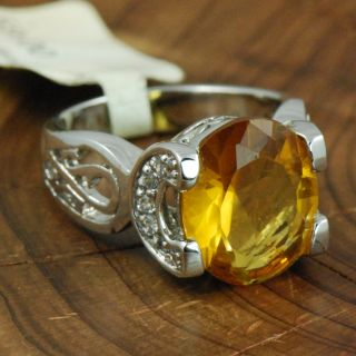 New Sterling Silver Oval Cut Citrine 7g Ring 7 ZC830