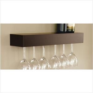 Wine Glass Shelf Holder Wall Accent Modern Java Brown