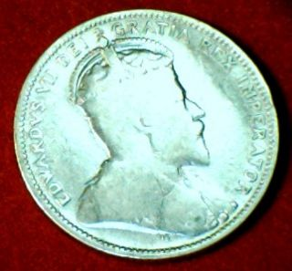 1910 King Edward VII Canada Silver 25 Cent Quarter