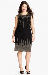 JS Collections Skyline Beaded Chiffon Blouson Dress (Plus)
