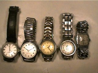 of 5 Vintage Mens Wrist Watches Meyers Jaro Eska Hilton Croydon