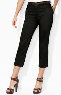 Lauren Ralph Lauren Slimming Belted Crop Pants (Plus)