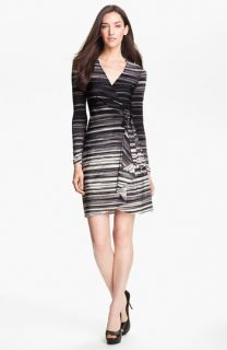 BCBGMAXAZRIA Stripe Jersey Wrap Dress