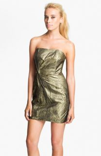Haute Hippie Metallic Twist Front Strapless Dress