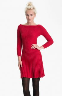 BCBGMAXAZRIA Boat Neck Cable Knit Sweater Dress