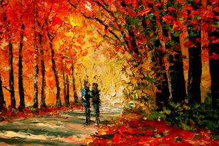 Landscape Autumn Trees Path Leaves Knife Original Art Oil Painting